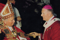 Archbishop Denis Hart with Pope John Paul II - 29 June 2001