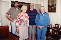 Brian Walters (grandson of William and Johanna Lyons), Nance Hart, Kevin Hart (son of James and Johanna Hart), Anita Fountain (daughter of James and Johanna Hart) - 4 October 1994