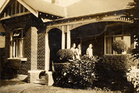 33 The Avenue, Strathfield, NSW: William and Johanna Lyons' home, with (from left), daughters Florence, Kath and Doris. c.1930?