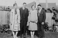 Florence Lyons, Kevin Hart, Clarice Lyons and unknown - about 1930
