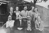 Lyons family at Strathfield about 1930. Rear: Florence, Doris, Monica, Clarice, Kath. Front: William (Bill), Johanna, William, Rita