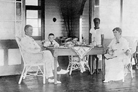 Major Arthur Roberts and Margaret Mary Lyons with sons Raymond (left) and Norman (right); 1916, Kavieng, New Ireland