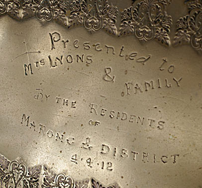 Detail of inscription on the Ellendale Tray